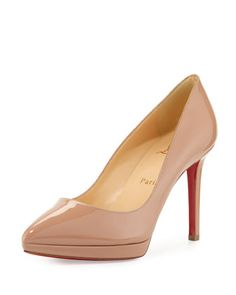 Pigalle Plato Patent Red Sole Pump, Nude by Christian Louboutin at Bergdorf Goodman.