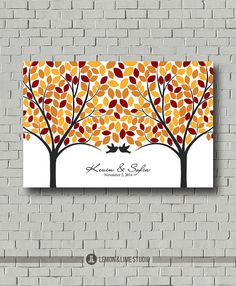 Large Wedding Tree Guest Book - Guest Book Alternative - Signature Tree Ptint - Fall Wedding Poster