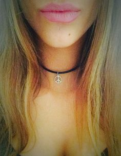 Peace sign leather choker necklace/leather choker/peace choker/hippie choker/dainty peace sign charm/silver peace choker/Valentines gift