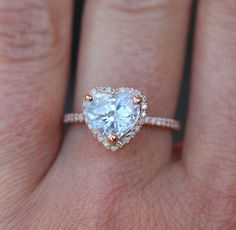Engagement ring. Heart sapphire rose gold ring. by EidelPrecious