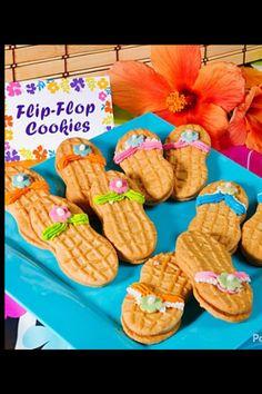 Flip flop cookies luau snack