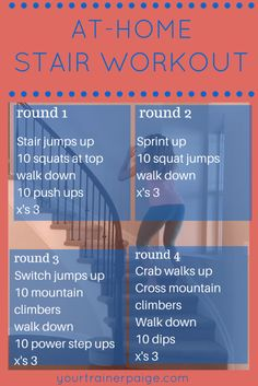 Fitness Motivation : At-Home Stair Workout {VLOG} - Your Trainer Paige - Healthy Fitness Workouts, Pilates Workout, At Home Workouts, Fitness Tips, Fitness Motivation, Health Fitness, Easy Workouts, Metabolic Workouts, Elliptical Workouts