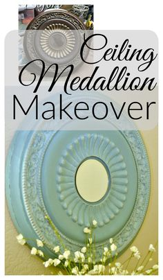 Ceiling Medallion Makeover with painting tips