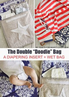 """The Double """"Doodie"""" Bag (a wipe-able diapering """"wet"""" bag).keeps baby diaper messes contained! --- Make It and Love It; also there is a changing pad link in this article. make the changing pad and the little go bag Baby Sewing Projects, Sewing Ideas, Sewing Tips, Diy Projects, Baby Accessoires, Diaper Bag Backpack, Diaper Bags, Wet Bag, Baby Makes"""