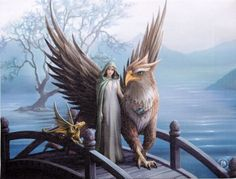 Griffin and Dragon Wall Plaque Art Print | Anne Stokes Maiden Gryphon Fantasy