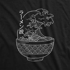The Great Ramen Wave – Mukei Great Wave Off Kanagawa, Katsushika Hokusai, Waves, Japan, Ink, Mens Tops, Japanese Dishes, Wave, Japanese