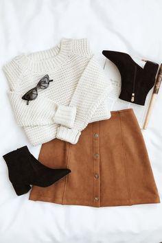 Me Love Camel Minirock mit Wildleder-Druckknopffront Modetrend . Cute Winter Outfits, Cute Casual Outfits, Stylish Outfits, Fall Outfits, Mode Outfits, Skirt Outfits, Fashion Outfits, Camel Skirts, Traje Casual