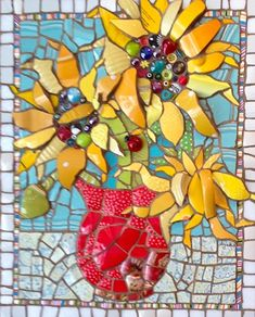 Hanging Out in a Vase by Anja Hertle  ~  Maplestone Gallery  ~  Contemporary Mosaic Art