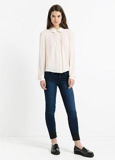 Blouse détail plissé - Blouses et chemises pour Femme | MANGO