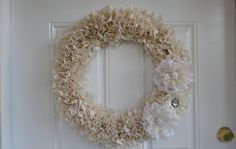 Muslin Wreath with Lace Flowers (22 inch). $70.00, via Etsy.  My favorite new wreath!