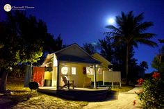 Linton Beach and Harbour Cottages at night on the Bahamian out-island of Green Turtle Cay.