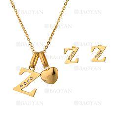 """juego collar y aretes de letra""""Z""""brillante en acero dorado inoxidable -SSNEG1093685"""