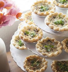 Mini Quiches on a cupcake stand