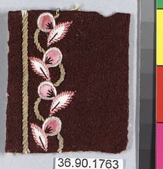 Sample Date: early 19th century Culture: French Medium: Silk and metal thread on felt Dimensions: L. 2 1/4 x W. 1 7/8 inches 5.7 x 4.8 cm Classification: Textiles-Embroidered Credit Line: Gift of The United Piece Dye Works, 1936