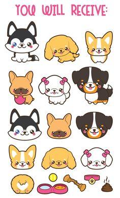 Kawaii Dog Clipart, Cute Dog Clipart, Dog Breeds Clipart on Amazing Dog Photo Ideas 9686 Cute Dog Drawing, Cute Animal Drawings, Kawaii Drawings, Cute Drawings, Dog Drawings, Thé Illustration, Cute Animal Illustration, Diy Kawaii, Kawaii Chibi