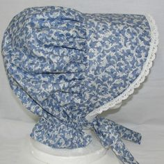 Handmade Frontier Bonnet or Prairie Sun Bonnet for Women Cotton Blue w/Lace #BobbyeDene #HatsHeadwear
