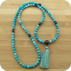 Variscite Meditation Mala Beads Necklace with Bronzite