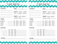 Chevron Toddler Daily Report Care Card by Jessy Jolly Designs Preschool Daily Sheet, Daycare Daily Sheets, Preschool Daily Report, Daycare Forms, Toddler Daycare, Toddler Teacher, Toddler Classroom, Home Daycare, Daycare Crafts