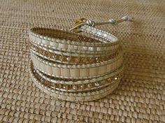 SOLD. Neutral Beaded Leather Wrap Bracelet: Beige Pearl and Crystal, Chan Luu Style by DevaOriginalBracelet on Etsy