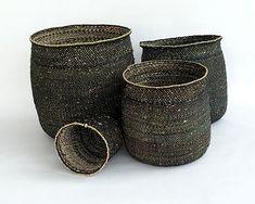 Bamboulaltd.com: IRINGA BASKET - BLACK & NATURAL TWEED