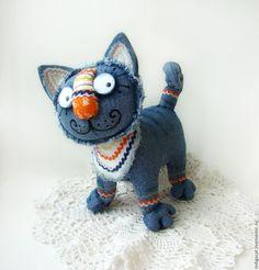 Купить Синий кот Нарядный II - кот, авторская игрушка, оригинальный подарок, текстильная игрушка
