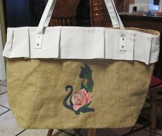 Free monogramming on this large burlap ruffled embroidered tote bag, large tote bag, cat lovers tote, gift item by lilmommas on Etsy