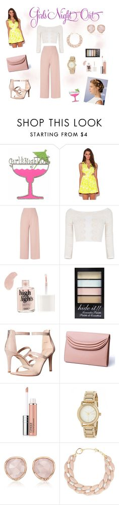 """Untitled #148"" by zerinac931 ❤ liked on Polyvore featuring L.K.Bennett, BCBGMAXAZRIA, Boohoo, Pelle Moda, Lauren Cecchi, Clinique, DKNY, Monica Vinader, DIANA BROUSSARD and girlsnightout"