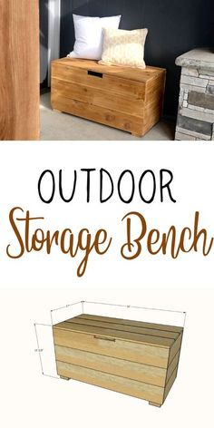 Build your own outdoor storage bench for about $40! This is an easy to build project plans created by Ana-White.com #anawhite #diy #woodworking