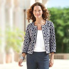 Women's Eyelet Open-Front Jacket