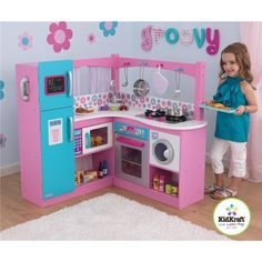 KidKraft My Groovy Gourmet Corner Kitchen 60 Piece Foods Play Set Childrens Kitchen Sets, Kids Play Kitchen Set, Wooden Play Kitchen, Pretend Play Kitchen, Cute Kitchen, Play Kitchens, Play Houses, Kids Bedroom, Kids Rooms