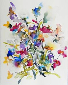 "Saatchi Art Artist Karin Johannesson; Painting, ""Sweet pea bouquet"" #art"