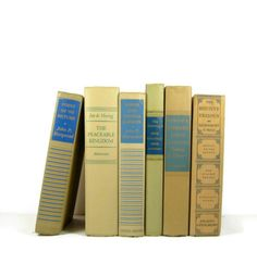 Vintage Books Blue Tan Taupe for Wedding Decor Photography Prop. $35.00, via Etsy.