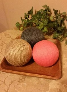 Check out this item in my Etsy shop https://www.etsy.com/listing/520994037/decorative-yarn-balls-coral-gray-and