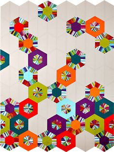 "Sexie Hexies Quilt, 48 x 65"", at Pine Needle Quilt Shop. Uses the ""Science Fair"" quilt pattern by Julie Herman at Jaybird Quilts"