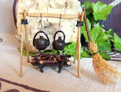 Handcrafted wooden miniature Witches Cooking by PaganMagicalCrafts, £55.00