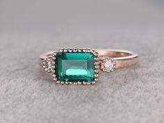 6x4mm Emerald Cut Emerald Engagement Ring Diamond Wedding Ring 14k Rose Gold Set Horizontal - BBBGEM