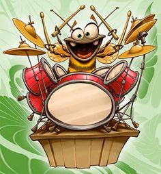 BB drummer by Dennis Jones Drums Wallpaper, Dennis Jones, Drum Lessons For Kids, Eclectic Artwork, Goofy Disney, Drums Art, Vintage Drums, Music Drawings, Tatoo Art