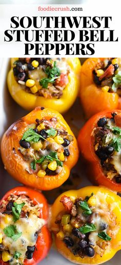 Classic Southwestern flavors, corn, rice, and lean ground beef make this rainbow of bell peppers a favorite, healthy dinner your whole family will enjoy. Healthy Dinner Recipes, Mexican Food Recipes, Vegetarian Recipes, Cooking Recipes, Stuffed Food Recipes, Stuffed Pepper Recipes, Skillet Recipes, Summer Recipes, Clean Eating