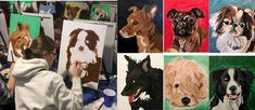 PAINT YOUR PETS. Students at work and they end results. Taught at Winnipeg Art & Wine - Paint Your Pet Student At Work, Paint Your Pet, Wine Painting, Scooby Doo, Students, Pets, Top, Fictional Characters, Shirts