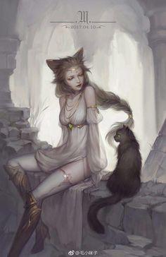 Neko, Fantasy Women, Fantasy Girl, Fantasy Inspiration, Character Inspiration, Character Drawing, Character Design, Art Anime, Fantasy Artwork
