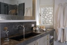 Love this built in sink, counter and backsplash.  Stained concrete is fantastic!