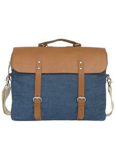 Enter Aktentasche, »Brief Big John Made in Japan, Denim/Tan Leather« für 199,99€. Wandelbare Businesstasche mit 16 Zoll Laptopfach bei OTTO