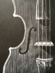 White charcoal on black paper.. The violin strings seems to glint in the light!!