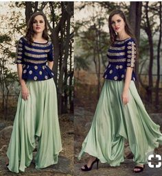 Mrunalini Rao embroidered peplum top paired with drop-crotch flared pants Indian Fashion Dresses, Indian Designer Outfits, Skirt Fashion, Indian Gowns, Indian Skirt, Dress Indian Style, Crop Top Designs, Blouse Designs, Dress Designs