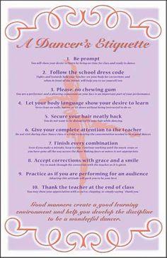 poster on dance class etiquette