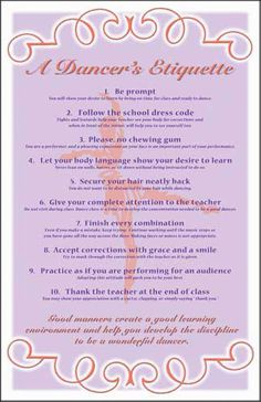 Dance Teacher Press -- dance class etiquette poster