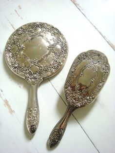 Antique Vanity Mirror & Brush Set