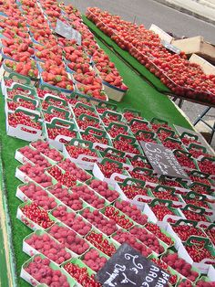 berries and cherries at the market, Aix en Provence, France