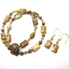Tan Picture Jasper Necklace Combo Gemstone by CatjuHandmadeJewelry