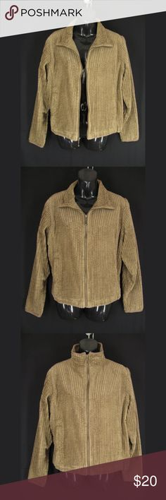 """Woolrich Jacket Women L Brown Corduroy Full Zipper Woolrich full zipper jacket in wide wale corduroy. This cute jacket is womens size L. It has long sleeves, front pockets and a convertible neckline (open front, pointed collar when partially zipped or funnel neck when fully zipped. Very Good Gently Pre-Loved condition!  17"""" from shoulder seam to shoulder seam 20 1/2"""" across bust/chest 21"""" across at the hem 23 3/4"""" from shoulder seam to bottom of sleeve 24"""" length  180102-214-001-5 Woolrich…"""
